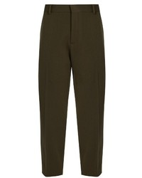 Maison Margiela High Rise Cropped Wool Blend Trousers