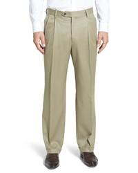 Berle Pleated Classic Fit Wool Gabardine Dress Pants