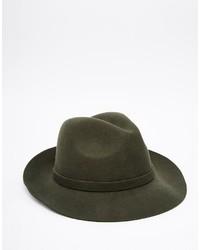 Asos Brand Fedora Hat In Khaki Felt