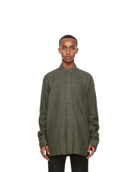 Haider Ackermann Khaki And Black Wool Shirt