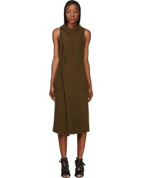 Isabel Marant Olive Wool Angora Kendal Wrap Dress