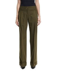 Michl kors wide leg stretch wool pants olive medium 6873201
