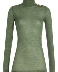 Balmain Wool Turtleneck Pullover With Embossed Buttons