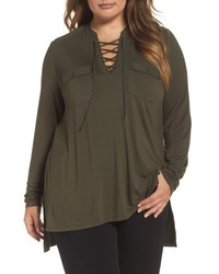 Melissa McCarthy Plus Size Seven7 Lace Up Woven Trim Top