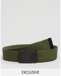 Reclaimed Vintage Woven Clip Belt In Khaki
