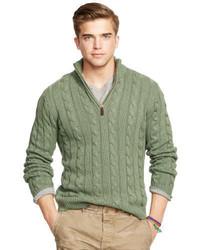 Olive Zip Neck Sweater