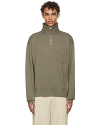 Lady White Co Khaki Quarter Zip Sweatshirt