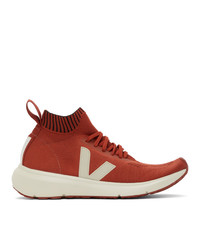 Rick Owens Orange And Off White Veja Edition Sock Runner Sneakers