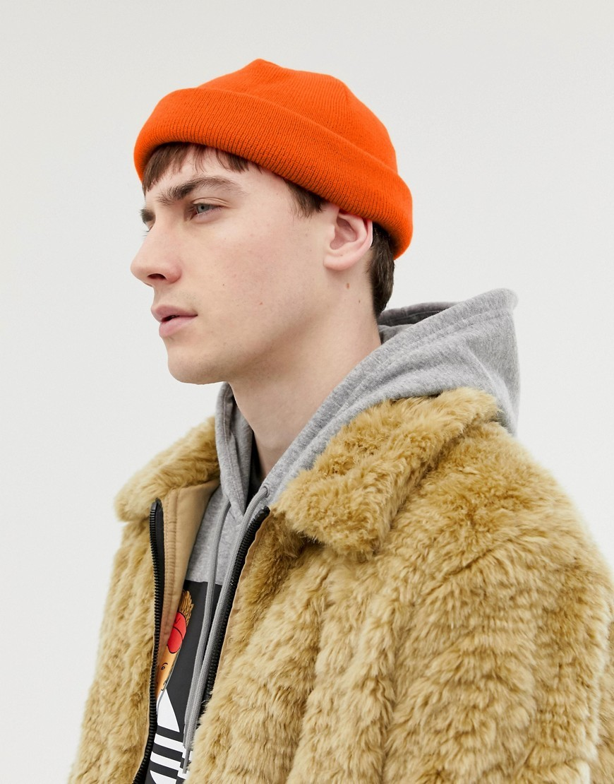 b4981bf6172f ASOS DESIGN Mini Fisherman Beanie In Orange, $10 | Asos | Lookastic.com
