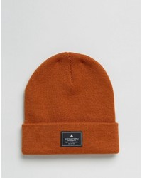 Asos Patch Beanie In Orange
