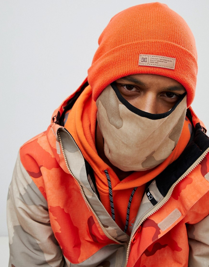 DC Shoes Variable Beanie And Snow Mask In Orange
