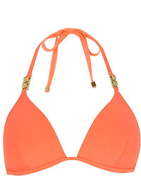River Island Orange Jewel Strap Padded Bikini Top