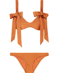 Zimmermann Veneto Bow Detailed Metallic Bikini