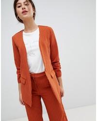 Vila Pin Stripe Ruche Sleeve Tailored Jacket