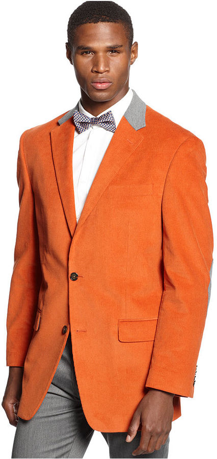 Sean John Jacket Solid Corduroy With Elbow Patches Sportcoat