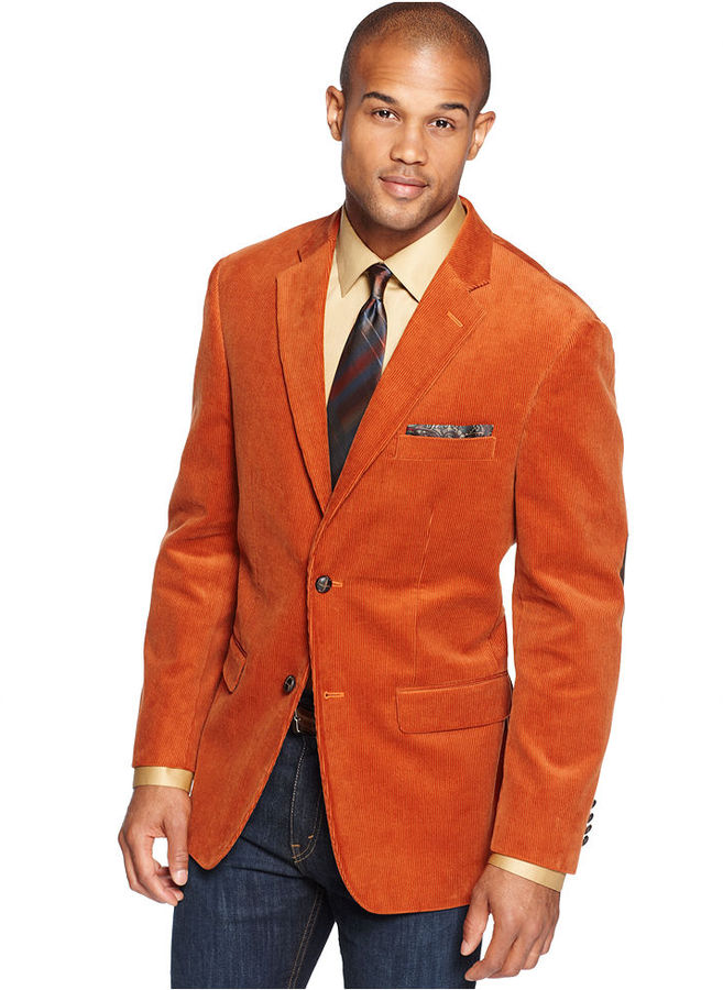 Tasso Elba Jacket Solid Corduroy With Elbow Patches Sportcoat