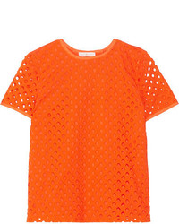 Tory Burch Hermosa Broderie Anglaise And Cotton Jersey Top Bright Orange
