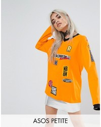 Asos Petite Petite Top With Long Sleeve And Branding Badges