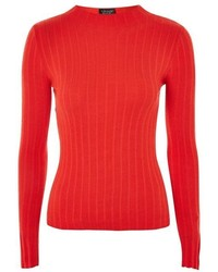 Topshop Ribbed Funnel Neck Popper Detail Top
