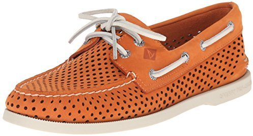 Mens Fashion  Footwear  Boat Shoes  Orange Boat Shoes Sperry Top Sider Authentic Original Laser Perf Boat Shoe