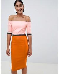 Vesper Colour Block Bardot Pencil Dress