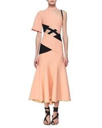 Exposed bandage asymmetric midi dress orange medium 4983651