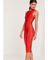 Missguided Cut Out Side Bandage Midi Dress Orange