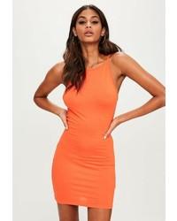 Missguided Orange 90s Neck Bodycon Dress