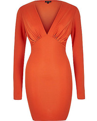 Orange plunge neck bodycon mini dress medium 536172