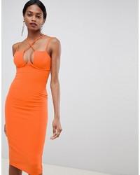 ASOS DESIGN Strappy Underwire Bodycon Midi Dress