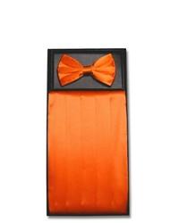 Vesuvio Napoli Silk Cumberbund Bowtie Burnt Orange Cummerbund Bow Tie Set