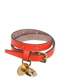 Alexander McQueen Skull Charm Leather Bracelet