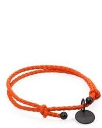 Bottega Veneta Intrecciato Leather Beaded Thin Wrap Bracelet
