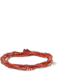 Isaia Coral And Silver Wrap Around Bracelet