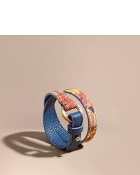 Burberry Peony Rose Print Haymarket Check Wrap Bracelet