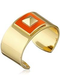 Trina Turk Retro Sport Pyramid Top Bangle Gold Orange Cuff Bracelet