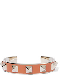 Valentino The Rockstud Pale Gold Tone Enameled Cuff Orange