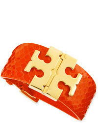 Tory Burch Wide Snake Embossed T Hinged Bracelet Orange