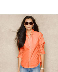 Orange Button Down Blouse