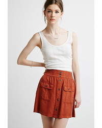 Contemporary button front pocket skirt medium 373772