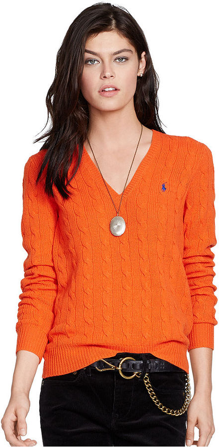 Polo Ralph Lauren V Neck Cable Knit Wool Cashmere Sweater | Where ...