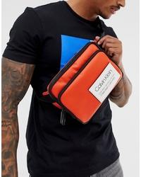 Calvin Klein Avenue Logo Crossbody Bag In Orange
