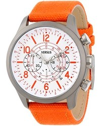 Versus By Versace Sgl040013 Soho Round Gun Ion Plated Stainless Steel Orange Canvas Strap Watch