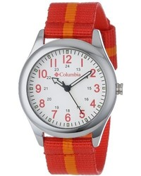 Columbia Unisex Ca016800 Field Fox Silver Tone Watch With Striped Nylon Band