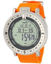 Vestal Unisex Gdedp03 The Guide Silver Tone Stainless Steel Digital Watch With Orange Canvas Band