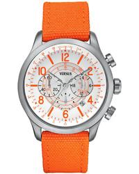 Versus By Versace Watch Unisex Chronograph Soho Orange Canvas Strap 44mm Sgl04 0013