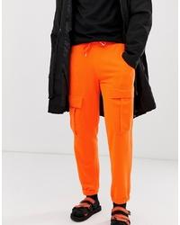 ASOS DESIGN Cargo Jogger In Neon Orange