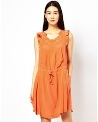 See by Chloe Silk Dress With Ruffle Sleeves And Tie Waist