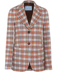 Prada Checked Jacquard Knit Blazer Orange