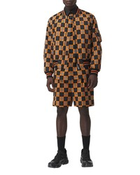 Burberry Brookland Checkerboard Cotton Bomber Jacket
